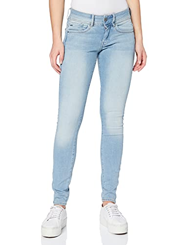 G-STAR RAW Damen Jeans Lynn Mid Waist Super Skinny, Blau (Faded Blue Destroy 9136-A890), 27W / 32L