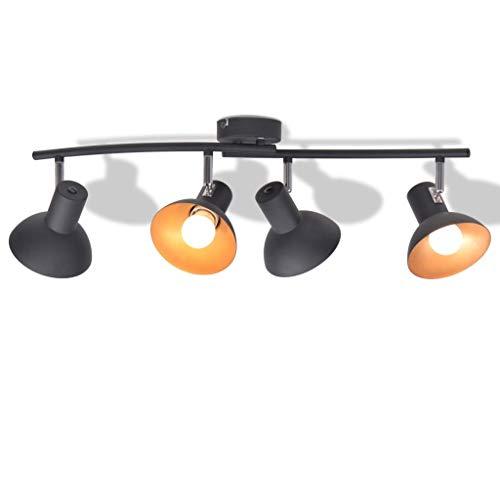 Zora Walter - Lámpara de Techo de Metal (para 1 Bombilla E27 de 4 GL), Color Negro y Dorado
