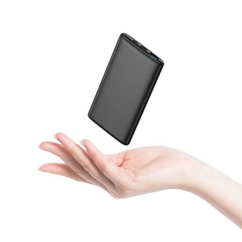 Powerbank PD 18W BABAKA 10000mAh Externer Akku USB C Power Bank Kompaktes Leichtes Tragbares Ladegerät mit Power Delivery Schnellladefunktion für iPhone Samsung Huawei und Mehr - Schwarz