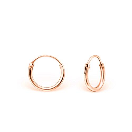 DTPsilver® KLEIN Creolen Ohrringe 925 Sterling Silber Rosen-Gold überzogen - Knorpel/Wendel/Tragus - Dicke 1.2 mm - Durchmesser 12 mm