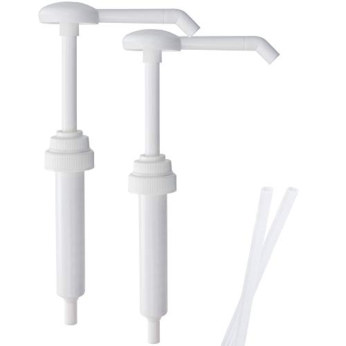 Top Home Store Heavy Duty Anti Drip Replacement Gallon Pump Dispensers, Suitable for Shampoo, Conditioner, Paint and Condiments, 2 Pieces, Includes 2 Five Inch Tube