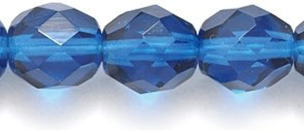 Preciosa Czech Fire 8mm Polished Glass Bead, Faceted Round, Transparent Capri Blue, 100-Pack
