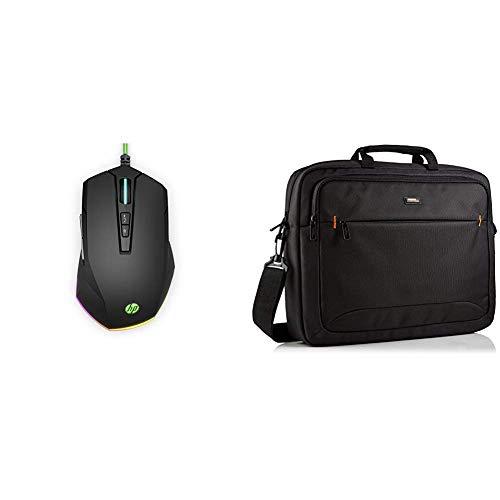 HP Pavilion Gaming Maus 200 (RGB-Beleuchtung, bis zu 3.200 DPI, 5 Funktionstasten) schwarz/grün und Amazon Basics NC1406118R1 Laptop-Tasche, für eine Displaydiagonale von 44cm (17,3Zoll) Schwarz