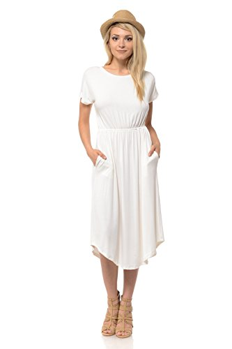 iconic luxe Women's Solid Short Sleeve Flare Midi Dress with Pockets Large Ivory