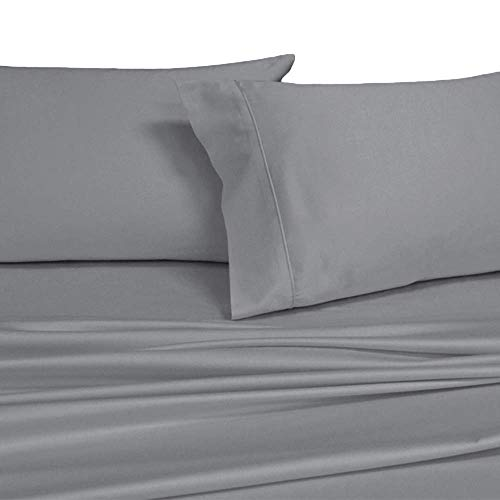 Royal's Solid Gray 1000-Thread-Count 4pc California-King Bed Sheet Set 100-Percent Cotton, Sateen Solid, Deep Pocket