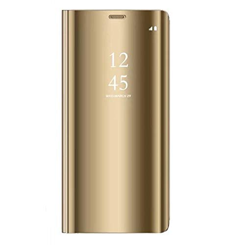 Caler  Funda Compatible para Galaxy S6 Edge Plus Funda lip Tapa Libro Carcasa - Modelo Inteligente Fecha Case del Dura Plegable Elegante Cover Pantalla Integral Cubierta para S6 Edge+ (Oro)