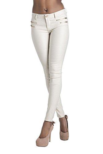 Crazy Lover Hochwertige Damenhosen, Glatte Damen Hose, Frauen Kunstlederhose, PU Lederhose Jean (38, Beige)