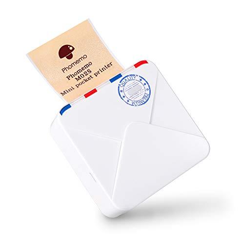 Phomemo M02S Mini-Thermodrucker Drahtloses Bluetooth, tragbares 300-dpi-HD-Drucksystem mit wiederaufladbarem Akku, geeignet für Aufzählungszeichen, Organisation, Fotodruck, als Geschenk und mehr