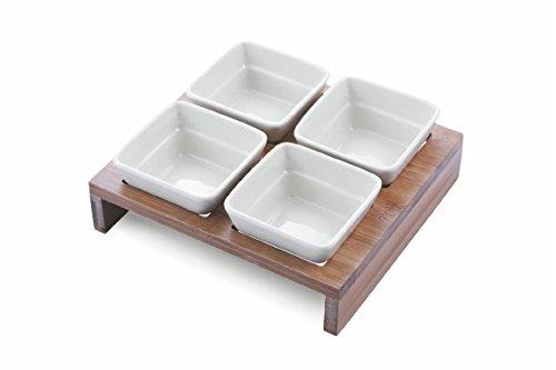 Villa d'Este Home Tivoli Daily Set 4 Ciotole Quadrate, Ceramica, Bianco, 5 unità