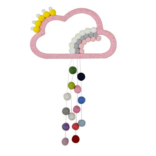 Amosfun Cloud Wall Hanging Decoration Pom Pom Ball Banner Garland Cotton Tassel for Baby Shower Kids Room Decorations Wall Art Decor Pink