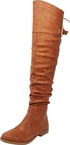 Cambridge Select Women's Closed Round Toe Slouch Riding Back Lace Chunky Block Low Heel Thigh High Over The Knee Boot,10 B(M) US,Tan Pu