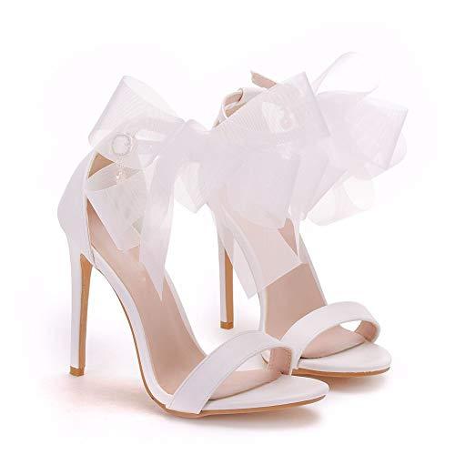 DEAR-JY Zapatos de Novia para Mujer,Zapatos de tacón,11cm Temperamento Sandalias con Lazo...