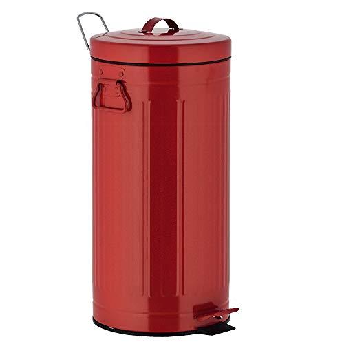 KITCHEN MOVE 927250E Red Retro Estilo Industrial AS-Cubo de Basura con Pedal, Metal y ABS, plástico, 30 x 30 x 68,5 cm