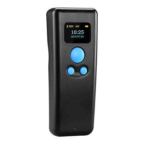 LIPETLI Escáner de código de Barras Bluetooth Pocket Warehouse Logística minorista Lografía de código de Barras Lector inalámbrico con Pantalla,A