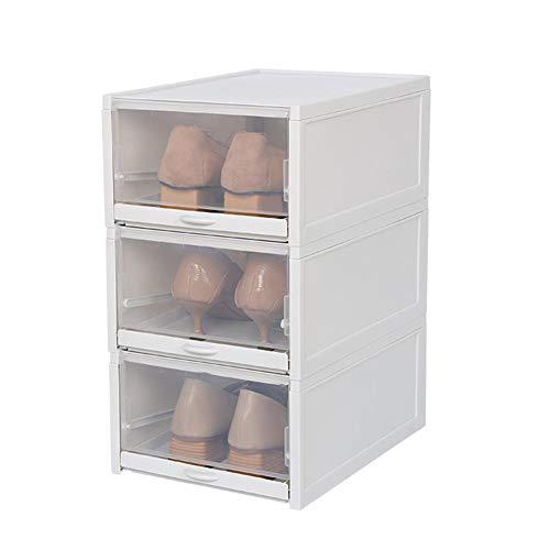 Sunronal Tipo de cajón Transparente de la Caja de Almacenamiento de Zapatos para el hogar Acabado apilable Plegable