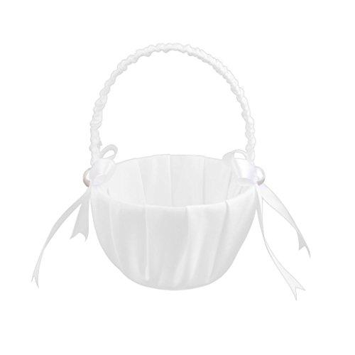 Flower Girl Basket - SODIAL(R)Weiss Satin Perlen Hochzeit Blumenmaedchen Korb Bowknot Dekor