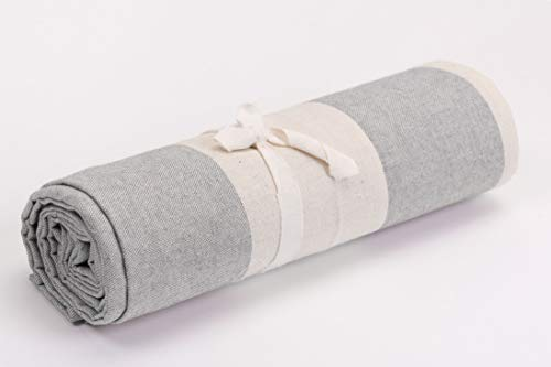 HomeLife – Foulard Multiusos – Tela Decorativa Cubre sofá con diseño de Rayas Anchas, 160x280, fabricación Italiana – Granfoulard de algodón – Cubrecama Individual (Cama 1 Plaza) – Beige/Gris