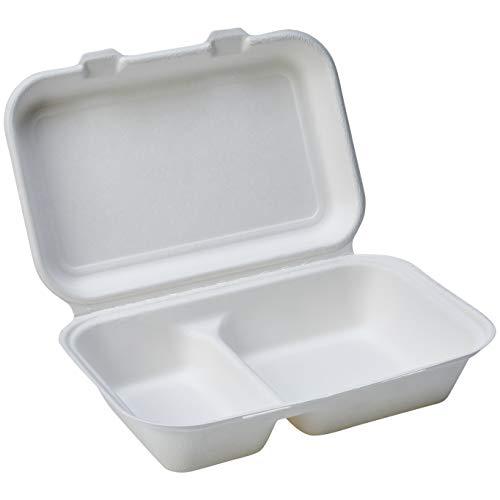 Amazon Basics - Recipientes de comida desechables, diseño de almeja, con bisagras, convertibles en abono ecológico y biodegradables, 2 compartimentos, 23 x 16 x 8 cm, 125 unidades