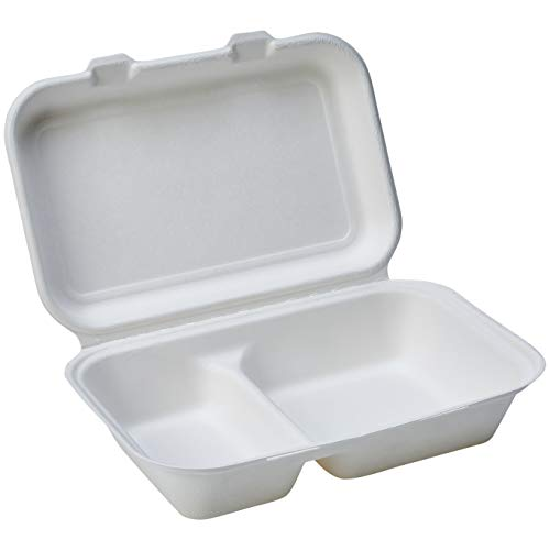"""Amazon Basics Compostable 2-Compartment Clamshell Hinged Food Container, 9"""" x 6"""" x 3"""", Pack of 125"""