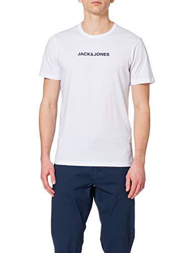 Jack & Jones JACRAIN tee 3 Pack Camiseta, Blanco/Detalle: Blanco, XL (Pack de 3) para Hombre