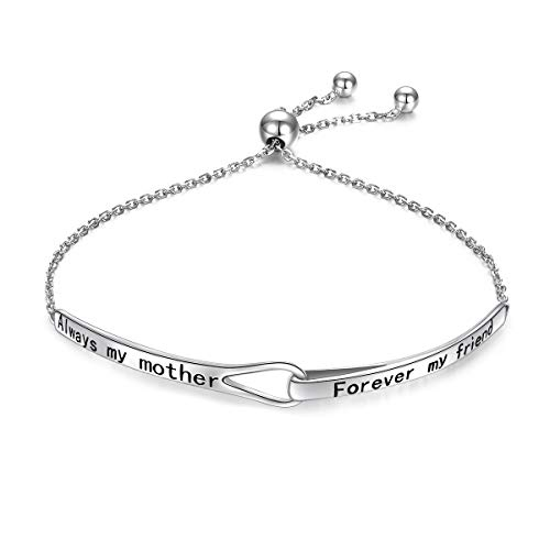 Sterling Silver Engraved Always My Mother Forever My Friend Adjustable Infinity Bracelet Gift for Mom from Daughter/Son (Always My Mother Forever My Friend)