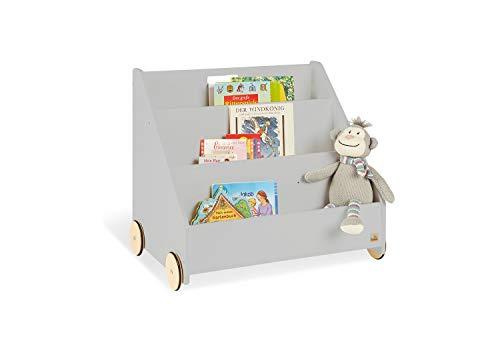 Pinolino Kinder-Bücherregal mit Rollen Lasse, aus MDF, 3 Fächer, 1 Geheimfach, gummierte Holzräder, für Kinder ab 3 Jahren, grau