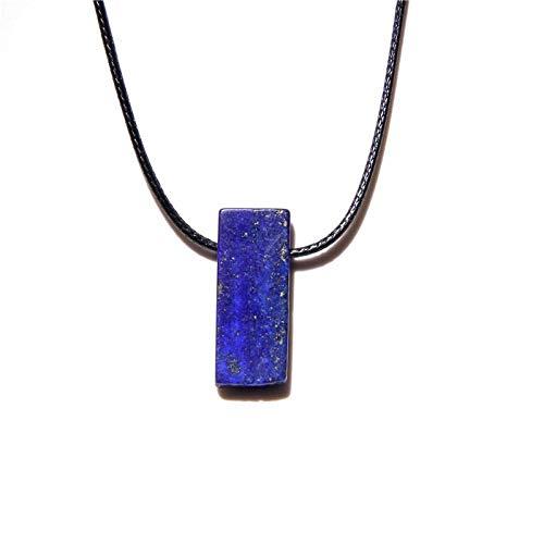 Collar de piedra natural cruda Gargantilla de cordón de cuero Obsidiana Amatistas Cuarzo Cristal Meditación Joyería para mujeres Hombres-Lapislázuli