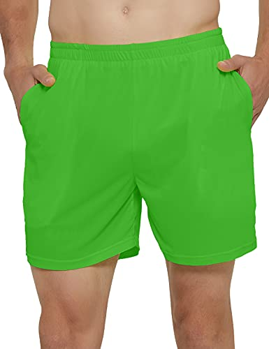 DEMOZU Men's Quick Dry Running Shorts 5 Inch Lightweight Workout Athletic Gym Tennis Shorts with Pockets, Neon Green, L