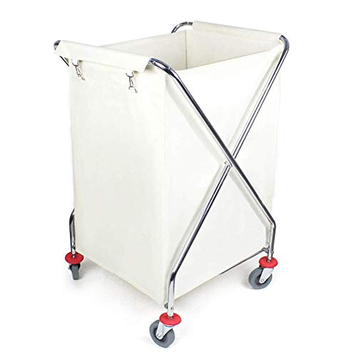 TQJ Storage Baskets for Bedroom Laundry Trolley Cart On Wheels,Folding Laundry Sorter for Hotel Restaurant Bathroom,Creamy-white Laundry Sorter with Durable Detachable Fabric Bags Storage Baskets Larg