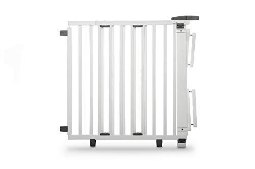 Geuther, Treppenschutzgitter für Baby Kinder und Hund Absperrgitter für Treppe in Holz Schutzgitter für Treppen zum klemmen und bohren 2733+ WE, weiß, 67 - 07 cm