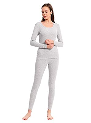 Women's Thermal Underwear Cotton Long Underwear Long John Womens Base Layer Set (Heather Light Gray, S) from