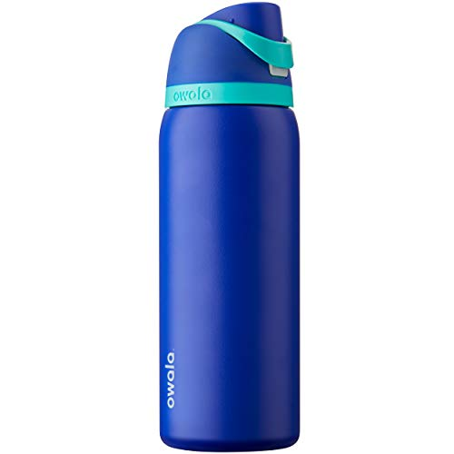 Owala FreeSip Insulated Stainless Steel Water Bottle with Push Button and Built-In Straw, 940 ml, Smooshed Blueberry