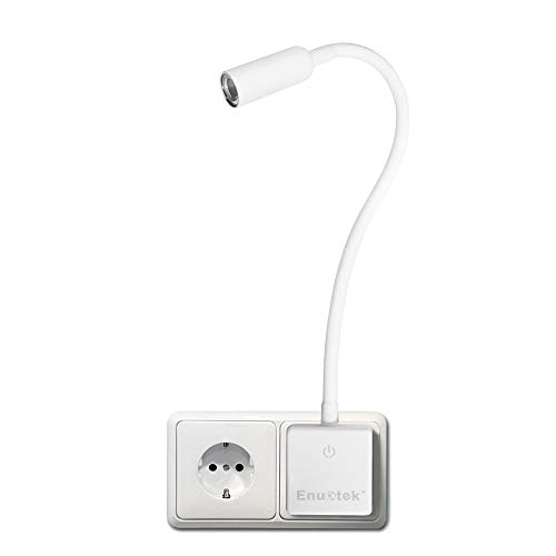 Lampara Foco Lectura de Pared Noche LED Regulable Blanco con Enchufe y Interruptor Tactil 3W 280Lm Luz Neutra 4000K con Cuello de Cisne Flexible Versión Normal de Enuotek