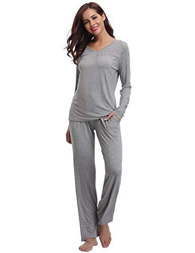 Abollria Pijamas Mujer Algodon Ropa de Domir Elegante Manga Pantalon Largos (XXL, Gris_3)