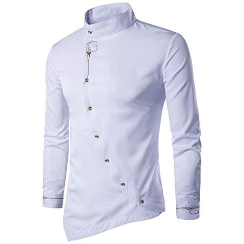 Hombres de otoño Casual Stand Collar Bordado Camisetas Calidad de diseño Dress Irregular Top Blusa Hipster Shirt, diseño de Calidad!