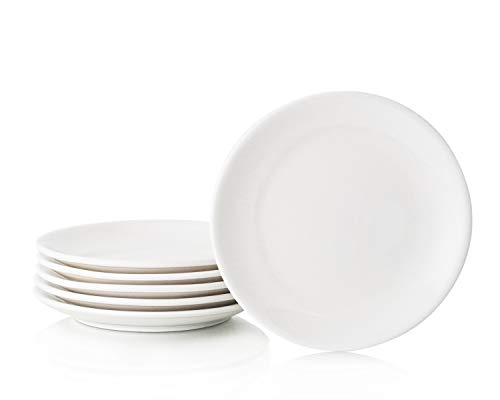 Hinomaru Collection White Porcelain Round Dinner Plates Set of 6 Durable Porcelain Multi Purpose Serving Plates Home Use Plates Restaurant Supply (7'D x 0.75'H)