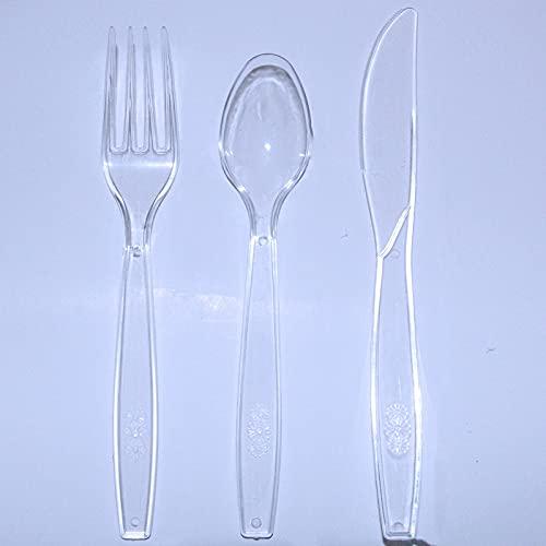 Lot de 150 couverts en plastique réutilisables pour l'extérieur et l'intérieur - 50 fourchettes, couteaux et cuillères - Pour les fêtes de famille, les dîners en extérieur (transparent)