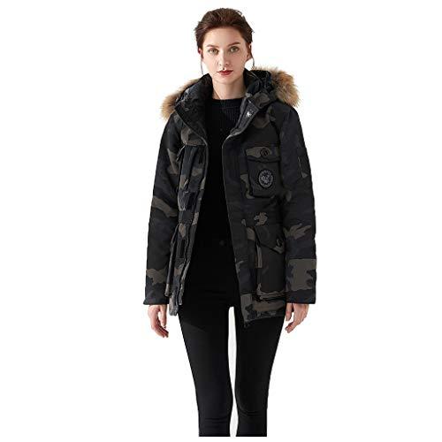 BRISEZZ vrouwen winter grote grootte lang casual donsjack faux kraag losse dikke mantel met imitatiebont-capuchon donsjassen gewatteerde jas medium dik (beige, zwart, grijs, navy, wit, rood, S-L3)