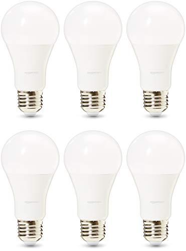 Amazon Basics, lampadine LED professionali, attacco Edison E27, equivalenti 100W, luce Bianca Calda- confezione da 6