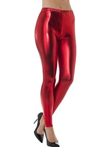 Dames 80s Metallic Leggings Volwassen Disco Fancy Jurk Kostuum Womens Retro Outfit (ROOD UK/L 16-18)