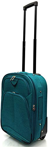 Ryanair, EasyJet, Jet2, Wizzair, BA and Many More Airlines Cabin Approved Super Lightweight Durable Expandable Carry-ons Hand Luggage Trolley 2 Wheeled Luggage Bag (18' Ryanair, Green)