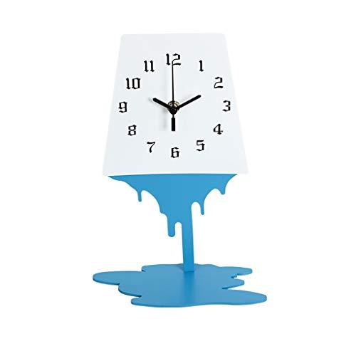 Elegante Reloj de Mesa Reloj de mesa de arte abstracto Decoración de la sala de la mesa de la mesa de metal Ornamentos de personalidad simple sin marco de reloj Desktop Mute Clock Red Azul Reloj de Es