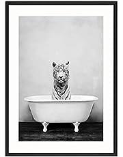 MONLEYTA Blanco y Negro Animales Pared Arte Imagen Jirafa Elefante Lienzo Pintura Moderna E