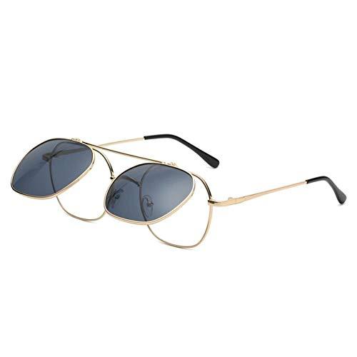 ZZOW Gafas De Sol con Lente Abatible A La Moda para Mujer, Gafas Punk De Metal Vintage para Hombre, Gafas De Sol Transparentes Azules Y Redondas Irregulares para Hombre, Gafas Uv400