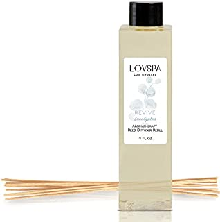 LOVSPA Revive Eucalyptus Reed Diffuser Oil Refill with Replacement Reed Sticks | Eucalyptus Essential Oil, Sage, Bamboo, Citrus and Mint. | 4 oz | Made in The USA