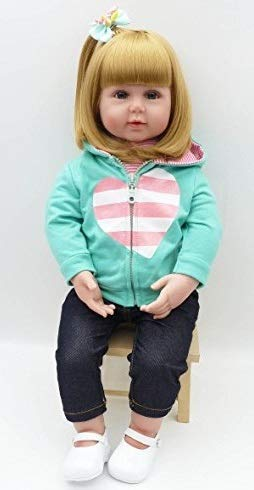 iCradle 22 inch Reborn Toddler Girl Doll Soft Silicone Vinyl Real Baby Gold Hair Cute Baby Xmas Gift