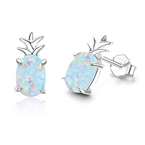Ohrringe Mädchen Ananas Ohrstecker Silber 925 Ohrringe Damen Opal Schmuck Geschenke für Frauen Kinder (C-Silber Ananas)