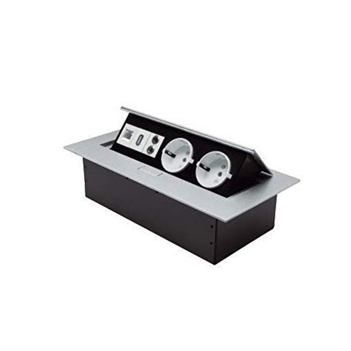 Tafelstekkerdoos zilver verzonken 2 x 230 V Schuko stopcontact + USB, netwerk, audio