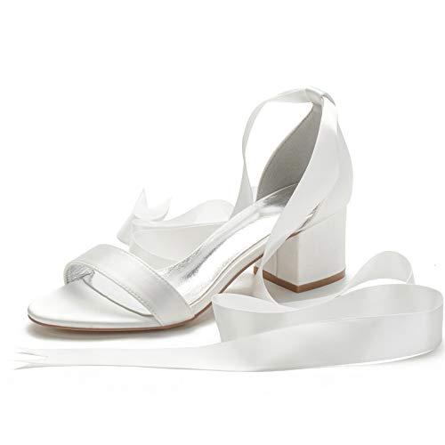 Gycdwjh Sencillez Zapatos Nupciales, Zapatos de Novia Boda Blanco Sexy Cómodo Satín...