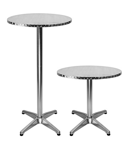 LXDUR Aluminium Round Bistro Patio Bar Table with 2 Adjustable High Table Indoor-Outdoor 23.7 inch top and 43.3 inch Height